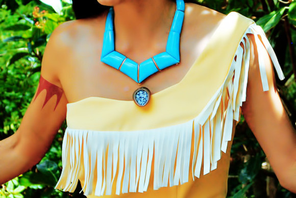 native american Pocahontas jewels necklace dress turquoise jewelry diamonds aztec