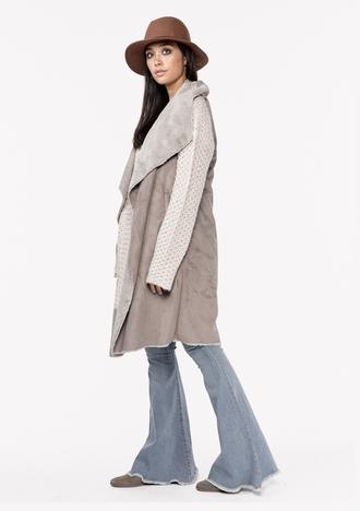 jacket vest faux fur vest long vest vegan vest