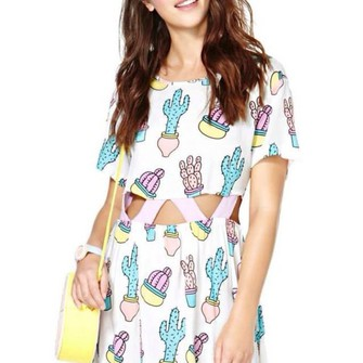 white dress cactus print middle cut pink dress the middle