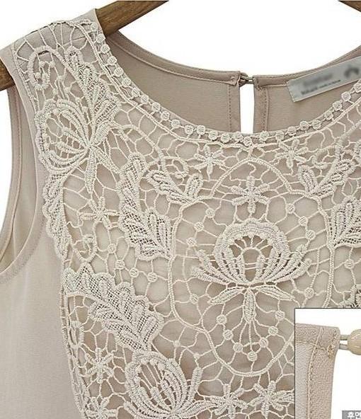 Summer Women's Lace Sleeveless Patchwork Dress New 2014 Chiffon Dresses Women Clothing Plus Size S-XL B0080 | Amazing Shoes UK
