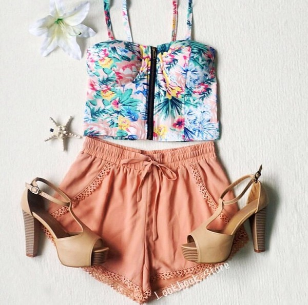 top crop tops floral crop top shorts flowered shorts floral colorful colorful crop top shoes
