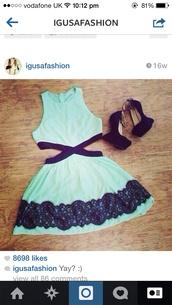 turquoise,black,cut-out dress,light blue,shoes,black shoes