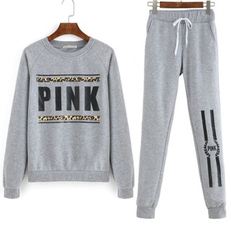 jumpsuit girl girly girly wishlist sweater joggers joggers pants grey cute two-piece matching set pink by victorias secret