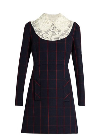 dress lace wool blue