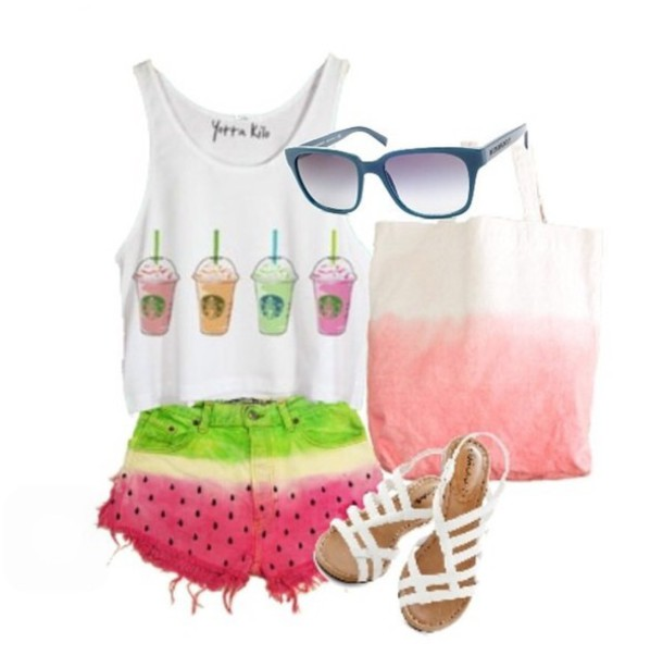 shorts watermelon print cut offs shirt