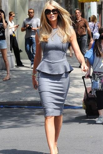 skirt office outfits grey skirt pencil skirt top peplum top grey top sunglasses black sunglasses