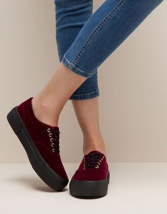 shoes pull and bear velvet platform shoes red wine red tumblr grunge suede sneakers