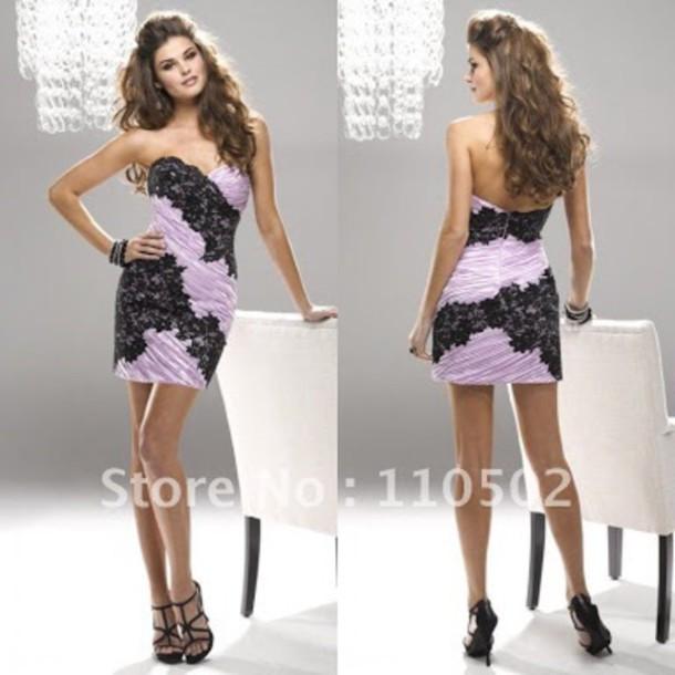 dress purple satin black lace