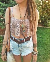 tank top,shirt,crop tops,floral tank top,lace,High waisted shorts,summer outfits,blouse,bag,jumpsuit,festival top,shorts,boho chic,festival,fashion,belt,skirt,lace top,music festival