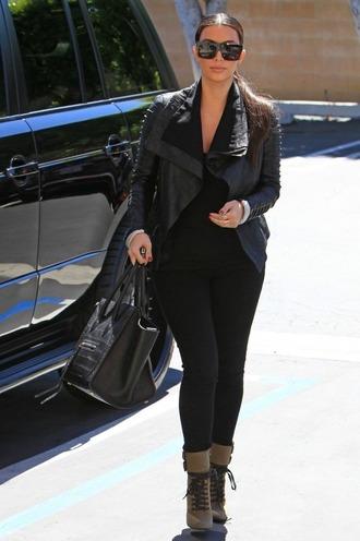 jacket kim kardashian black leather jacket celine shoes