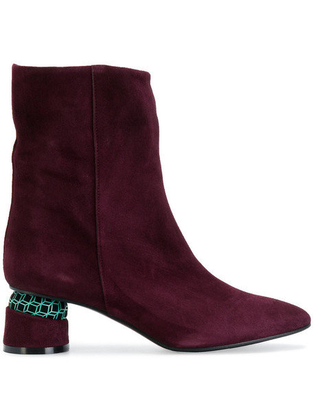Marc Ellis heel women geometric heel boots leather suede purple pink shoes
