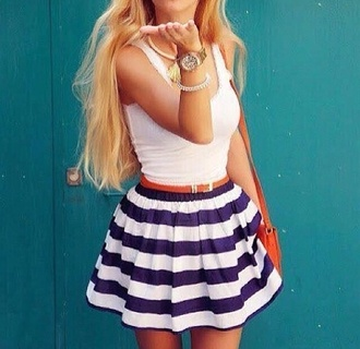skirt shirt striped sailor striped skirt blue and white skater skirt