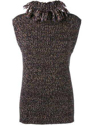 top sleeveless knit brown