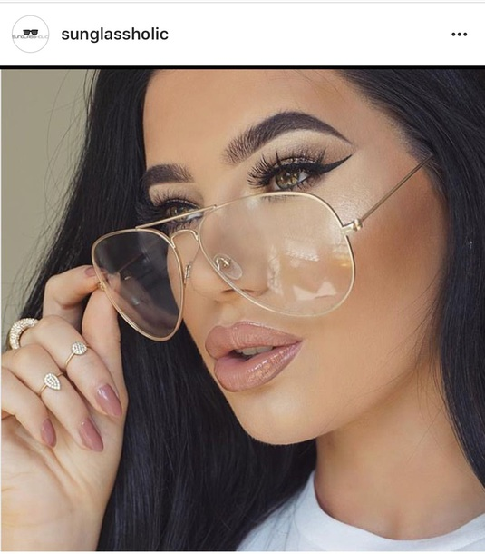 sunglasses clear clear lens sunglasses fashion style jewels make-up hair accessory hairstyles fall outfits fall accessories