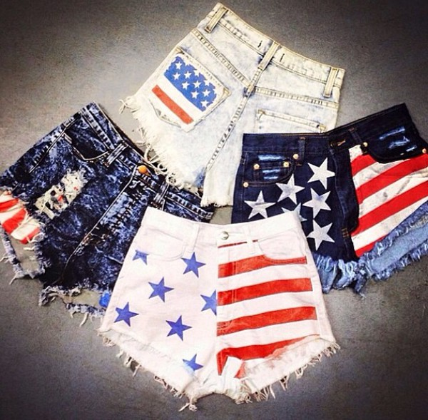 white high waisted High waisted shorts red american flag cute all day i dream about sex shorts