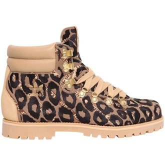 shoes leopard print adidas women boots brown gold fashion