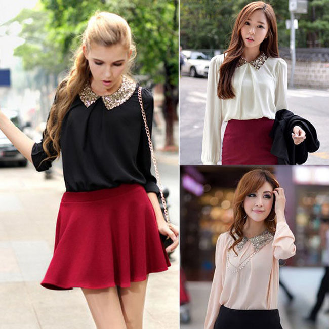 1pc trendy womens sequin peter pan collar long sleeve chiffon shirt blouse tops
