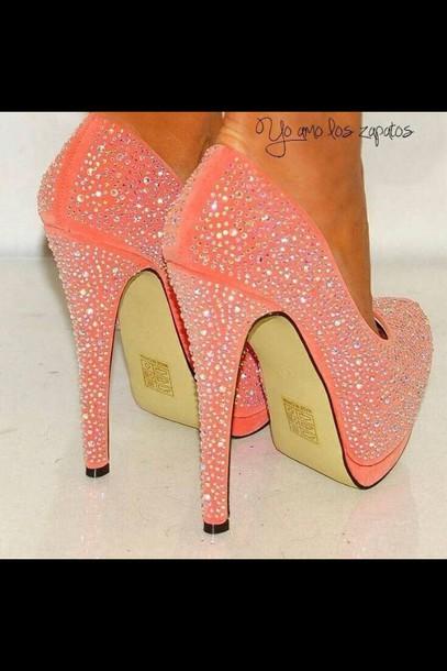 dd1f99ba6fe1 shoes heels peach colored sparkle