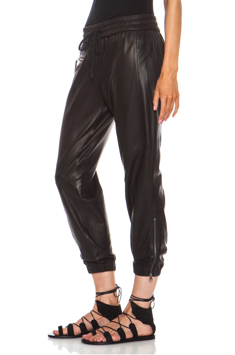 Pam & Gela | Perforated Lambskin Leather Track Pant in Black
