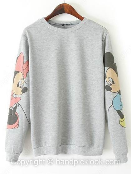 Grey Round Neck Long Sleeve Mickey Print Sweatshirt - HandpickLook.com