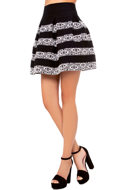 Printed Stripe Bandage Skirt in Black