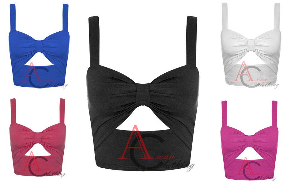 Ladies Womens Plain Bralet Cut Out Knot Bow Front Vest Crop Top Stretch Bra 8 14   eBay