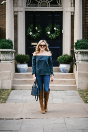 bows&sequins,blogger,top,jeans,shoes,bag,sunglasses,jewels,handbag,off the shoulder top,blue bag,knee high boots,boots