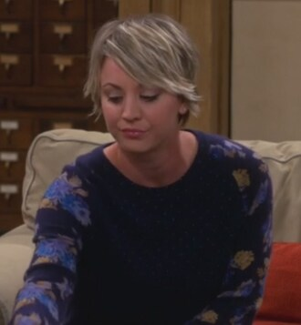 sweater polka dots floral blue big bang theory penny kaley cuoco