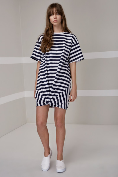 The fifth dress shirt dress t-shirt dress navy white