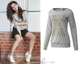 sweater selena gomez grey selenagomez hourglass disney triangle