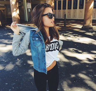 jacket edgy denim jacket sunglasses t-shirt jeans shirt jeans jacket sweater