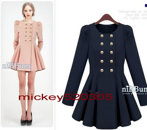 New Slim Puff Sleeve Skirt Trenchcoat Double Breasted Jacket Pink ...