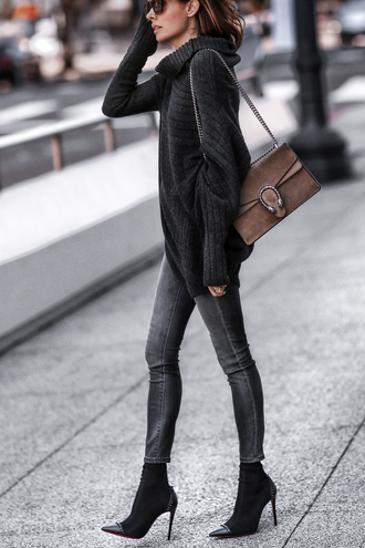 fashionedchic blogger sweater jeans shoes bag sunglasses brown bag gucci bag boots fall outfits turtleneck sweater black sweater