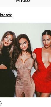 dress,sophia miacova,bodycon dress,party dress,nude dress,black dress,make-up,red dress,v neck dress,sexy dress
