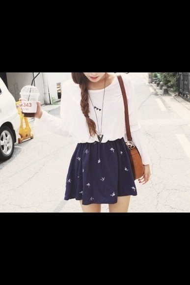 skirt blue skirt blue and white skirt