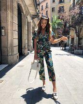 jumpsuit,floral,floral jumpsuit,bag,white bag,shoes,white shoes,espadrilles,sunglasses