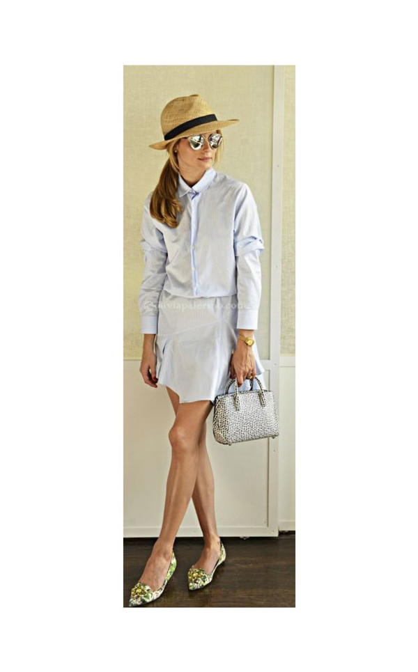 dress sunglasses hat olivia palermo shoes bag