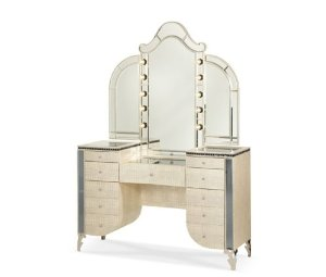 Amazon.com - Aico Hollywood Swank Vanity with Bench Set 3 Piece in Crystal Croc by Michael Amini - Vanity Mirrors