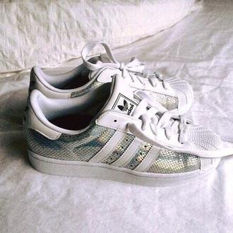 shoes adidas adidas superstars adidas originals white glitter tumblr