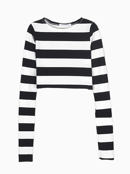 Black Stripe Crop T-shirt | Choies