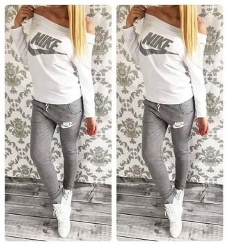pants nike grey sweatpants grey nike sweatpants long sleeves white shirt