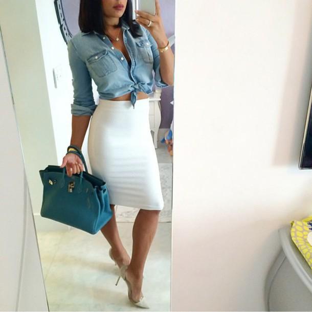 blouse shoes skirt shirt denim shirt
