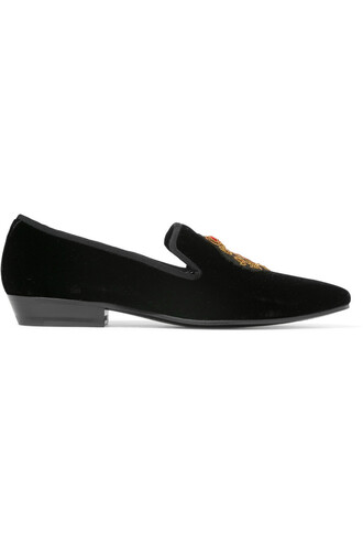 embroidered loafers velvet black shoes