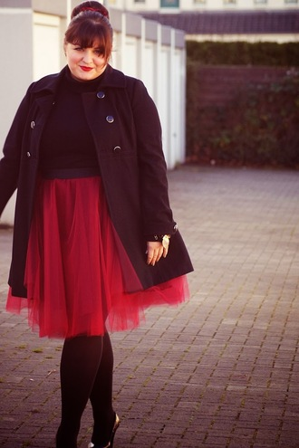 skirt red skirt coat curvy tulle skirt