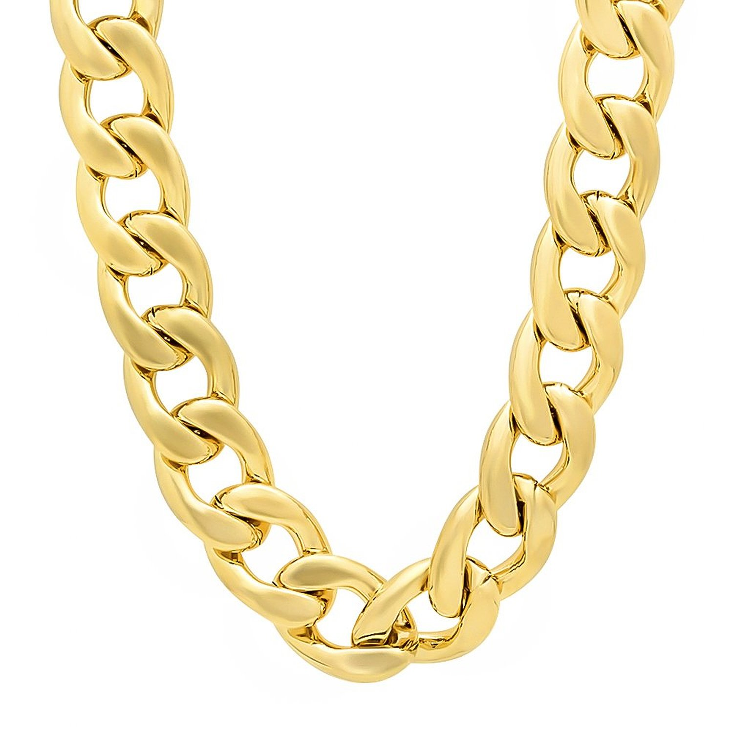Amazon.com: 36 inch 20mm men's 14k gold plated cuban link curb chain necklace: jewelry