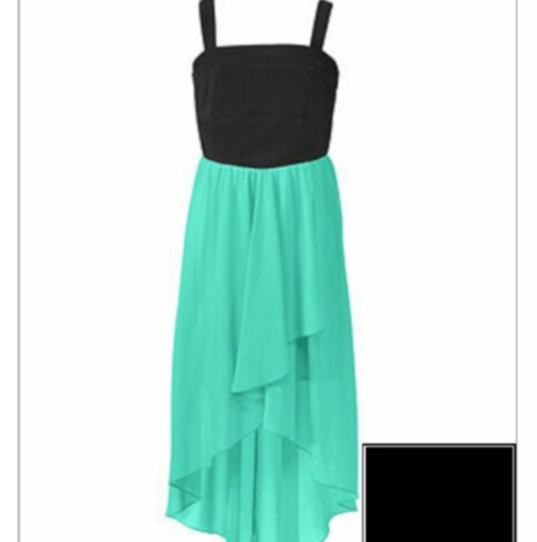 dress turquoise and black high low dress