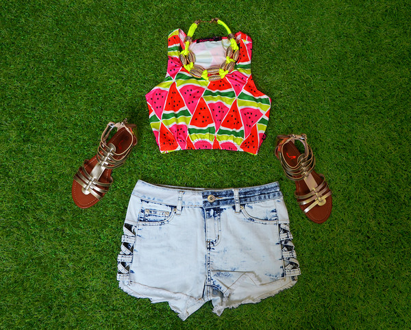 92cfe0c61e9756 Juicy Fruit Multicolour Watermelon Print Crop Top
