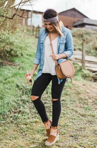 life & messy hair blogger shoes tank top bag denim shirt wedges crossbody bag spring outfits