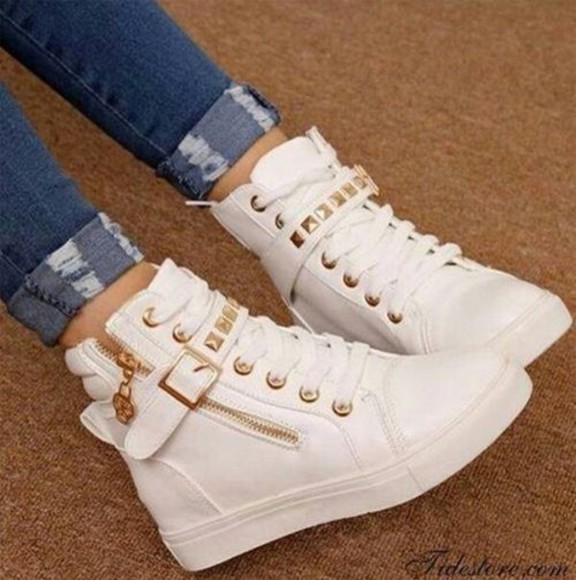 white shoes high top sneakers shoes wedges