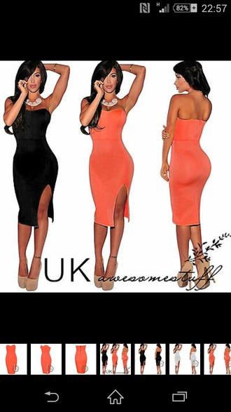 dress orange dress slit off shoulder sexy